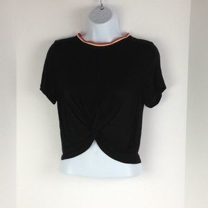 Black Crop Tee w/ Knotted front & Striped Collar